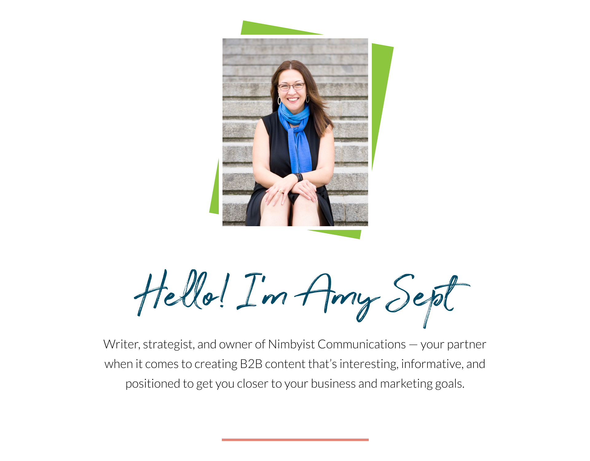 Writer, strategist, and owner of Nimbyist Communications—your partner when it comes to creating B2B content that's interesting, informative, and positioned to get you closer to your business and marketing goals.